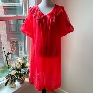 Vintage Romantic Dreamy Sheer Red Robe Cape Duster